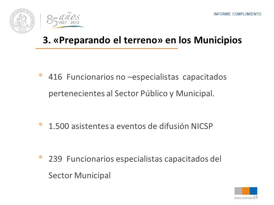 12 INFORME CUMPLIMIENTO 3. «Preparando el terreno» en los Municipios 416 Funcionarios no –especialistas capacitados pertenecientes al Sector Público y