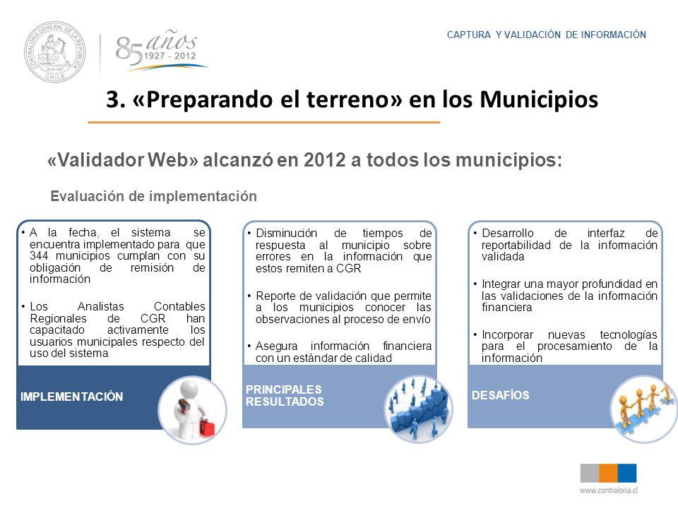 Evaluación de implementación A la fecha, el sistema se encuentra implementado para que 344 municipios cumplan con su obligación de remisión de informa