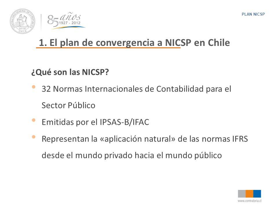 1. El plan de convergencia a NICSP en Chile PLAN NICSP ¿Qué son las NICSP? 32 Normas Internacionales de Contabilidad para el Sector Público Emitidas p