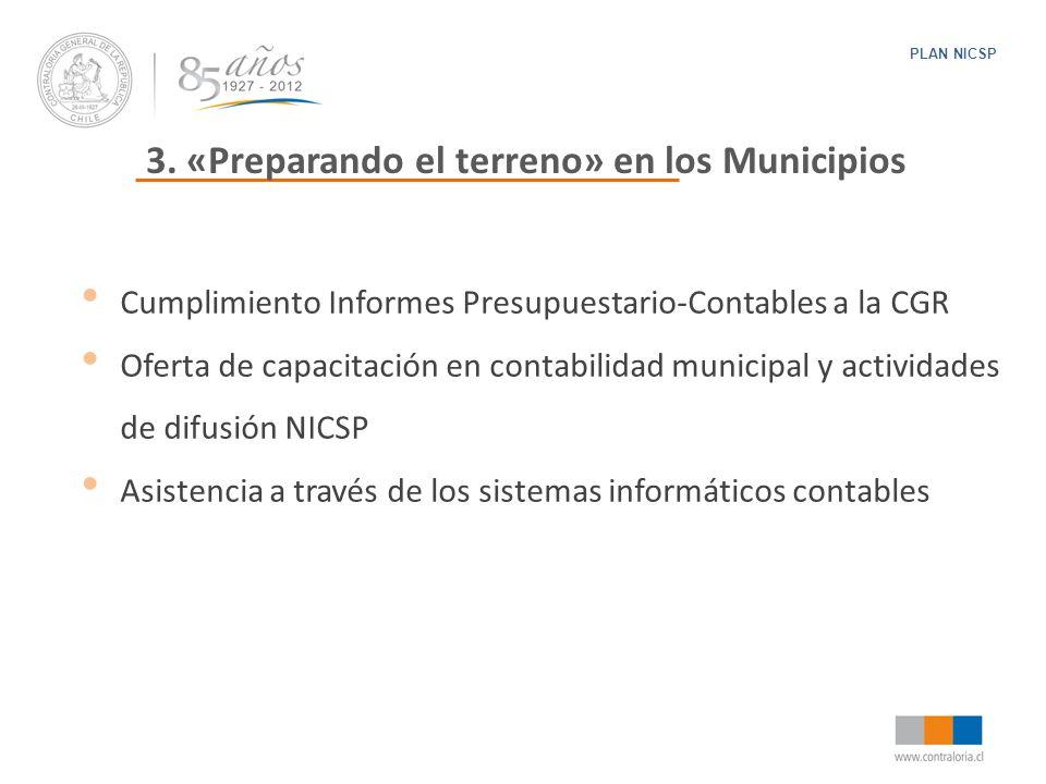 3. «Preparando el terreno» en los Municipios PLAN NICSP Cumplimiento Informes Presupuestario-Contables a la CGR Oferta de capacitación en contabilidad