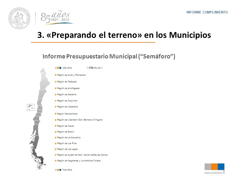8 INFORME CUMPLIMIENTO Informe Presupuestario Municipal (Semáforo) 3. «Preparando el terreno» en los Municipios