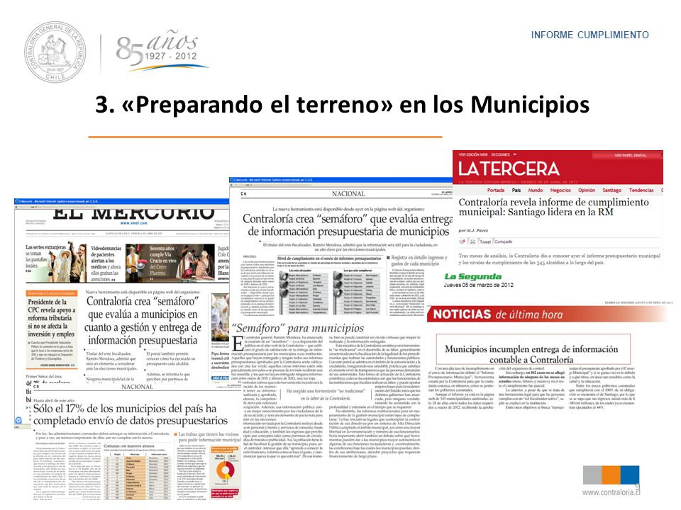 9 INFORME CUMPLIMIENTO 3. «Preparando el terreno» en los Municipios