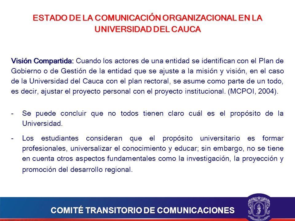ESTADO DE LA COMUNICACIÓN ORGANIZACIONAL EN LA UNIVERSIDAD DEL CAUCA Visión Compartida: Visión Compartida: Cuando los actores de una entidad se identifican con el Plan de Gobierno o de Gestión de la entidad que se ajuste a la misión y visión, en el caso de la Universidad del Cauca con el plan rectoral, se asume como parte de un todo, es decir, ajustar el proyecto personal con el proyecto institucional.
