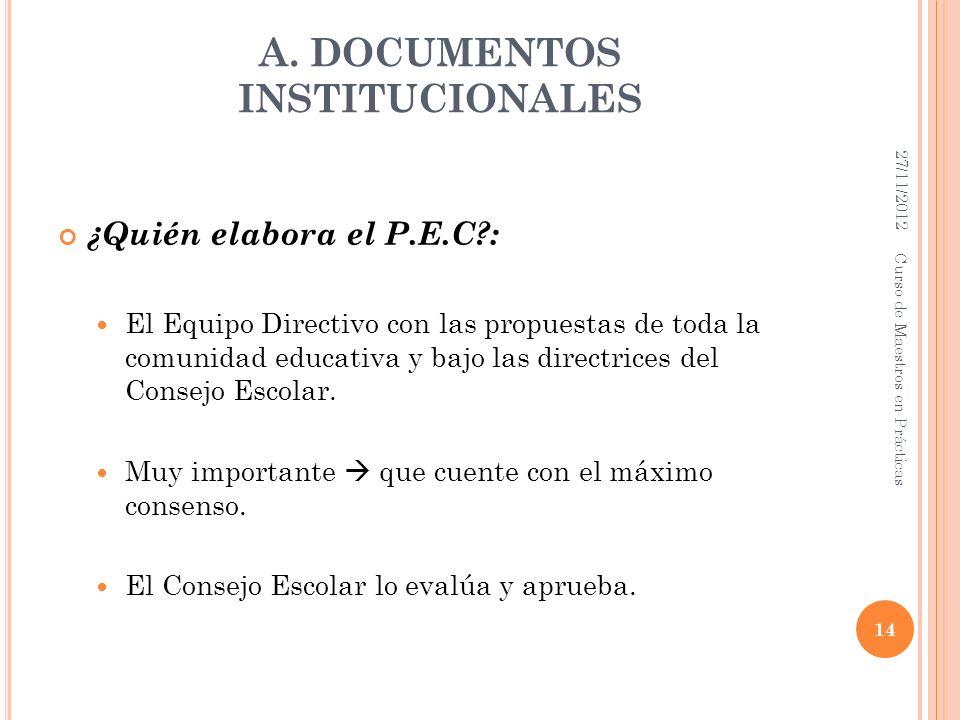 A. DOCUMENTOS INSTITUCIONALES ¿Quién elabora el P.E.C?: El Equipo Directivo con las propuestas de toda la comunidad educativa y bajo las directrices d