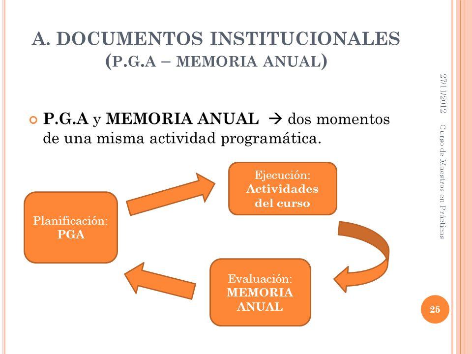 A. DOCUMENTOS INSTITUCIONALES ( P. G. A – MEMORIA ANUAL ) P.G.A y MEMORIA ANUAL dos momentos de una misma actividad programática. 27/11/2012 25 Curso