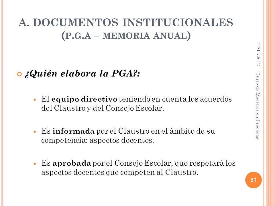 A. DOCUMENTOS INSTITUCIONALES ( P. G. A – MEMORIA ANUAL ) ¿Quién elabora la PGA?: El equipo directivo teniendo en cuenta los acuerdos del Claustro y d