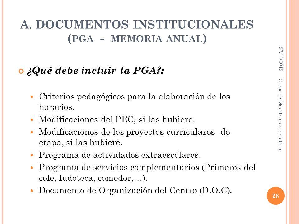 A. DOCUMENTOS INSTITUCIONALES ( PGA - MEMORIA ANUAL ) ¿Qué debe incluir la PGA?: Criterios pedagógicos para la elaboración de los horarios. Modificaci