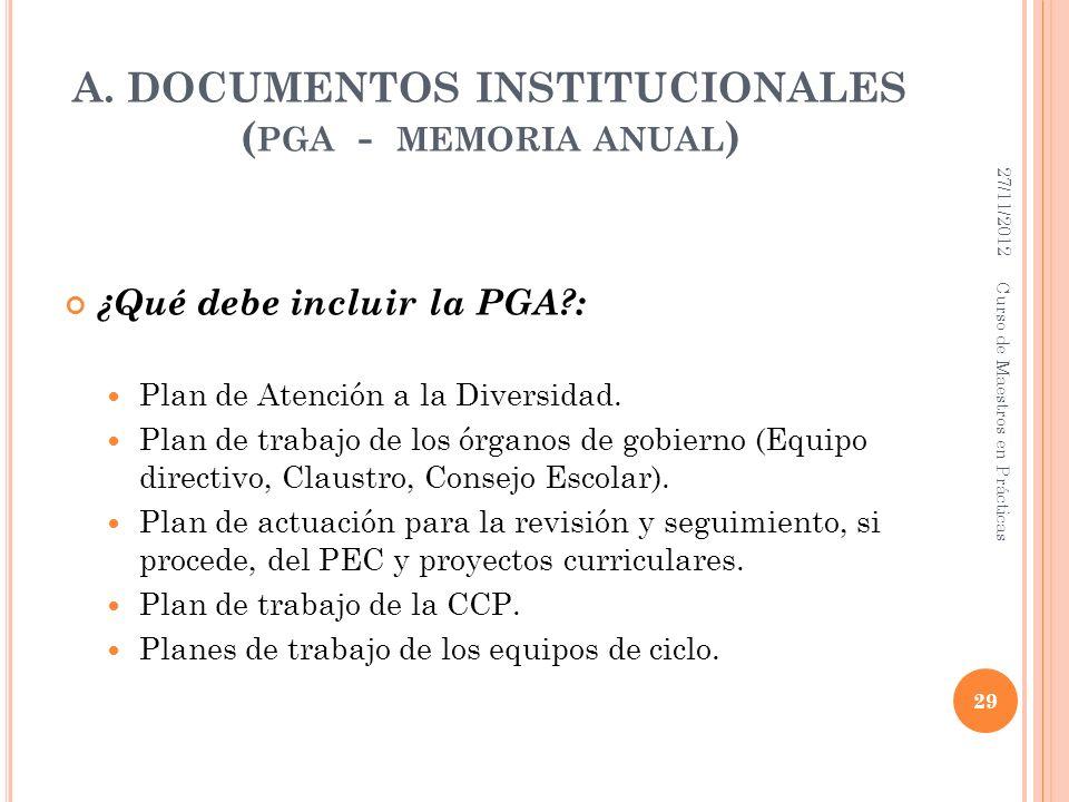 A. DOCUMENTOS INSTITUCIONALES ( PGA - MEMORIA ANUAL ) ¿Qué debe incluir la PGA?: Plan de Atención a la Diversidad. Plan de trabajo de los órganos de g