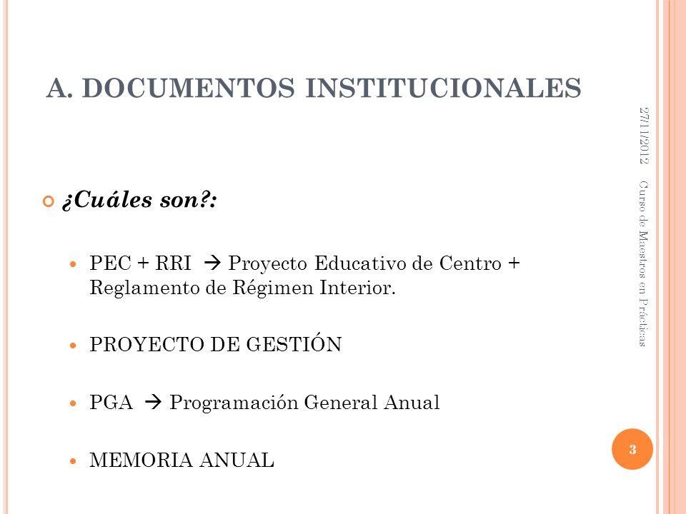 A. DOCUMENTOS INSTITUCIONALES ¿Cuáles son?: PEC + RRI Proyecto Educativo de Centro + Reglamento de Régimen Interior. PROYECTO DE GESTIÓN PGA Programac