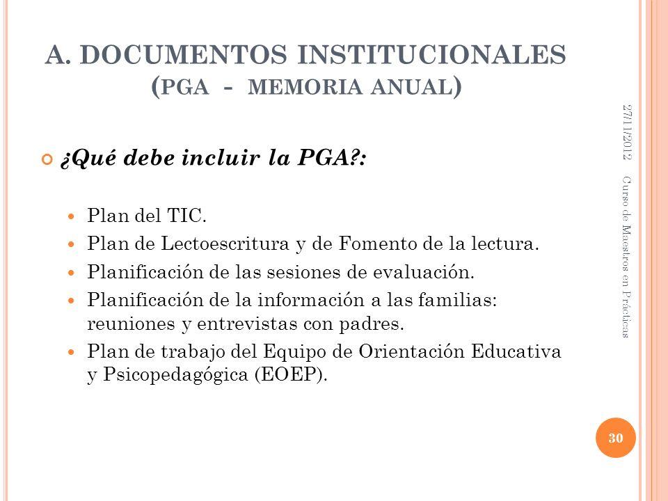 A. DOCUMENTOS INSTITUCIONALES ( PGA - MEMORIA ANUAL ) ¿Qué debe incluir la PGA?: Plan del TIC. Plan de Lectoescritura y de Fomento de la lectura. Plan