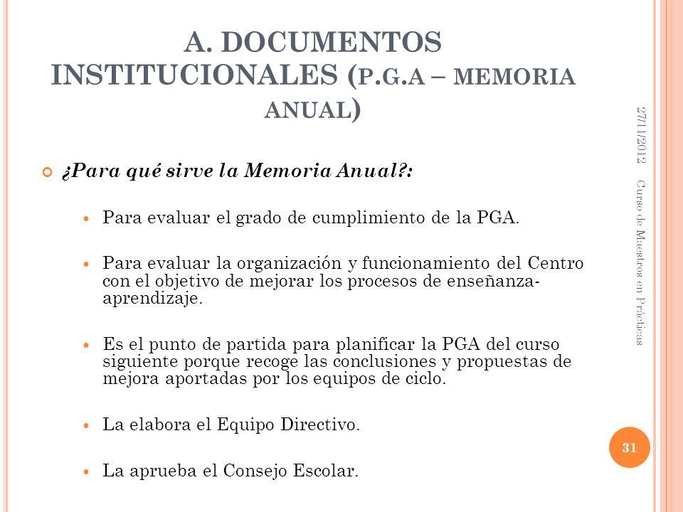 A. DOCUMENTOS INSTITUCIONALES ( P. G. A – MEMORIA ANUAL ) ¿Para qué sirve la Memoria Anual?: Para evaluar el grado de cumplimiento de la PGA. Para eva