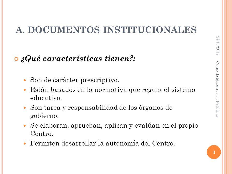 A. DOCUMENTOS INSTITUCIONALES ¿Qué características tienen?: Son de carácter prescriptivo. Están basados en la normativa que regula el sistema educativ