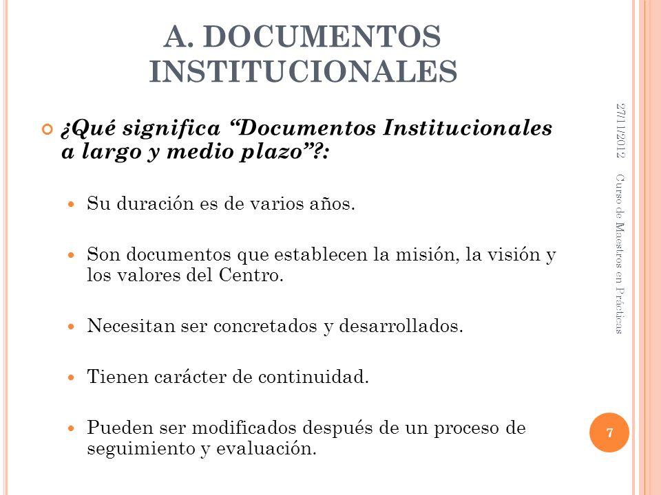 A. DOCUMENTOS INSTITUCIONALES ¿Qué significa Documentos Institucionales a largo y medio plazo?: Su duración es de varios años. Son documentos que esta