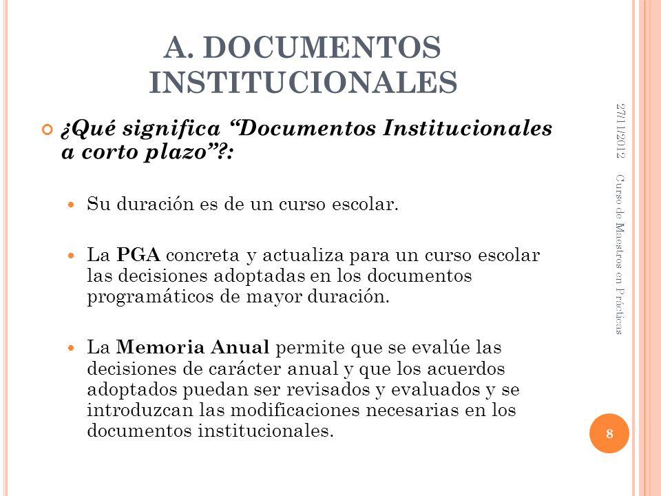 A. DOCUMENTOS INSTITUCIONALES ¿Qué significa Documentos Institucionales a corto plazo?: Su duración es de un curso escolar. La PGA concreta y actualiz