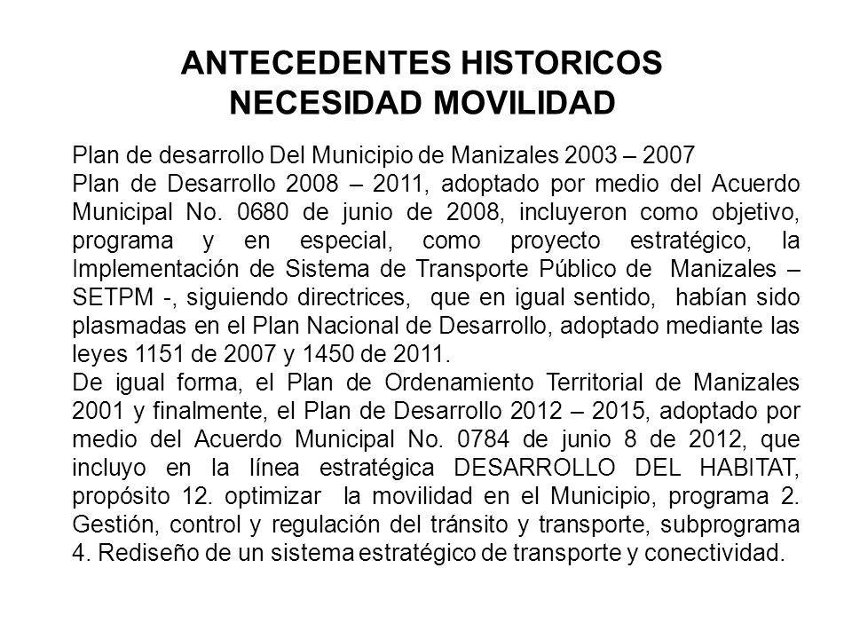 Plan de desarrollo Del Municipio de Manizales 2003 – 2007 Plan de Desarrollo 2008 – 2011, adoptado por medio del Acuerdo Municipal No.
