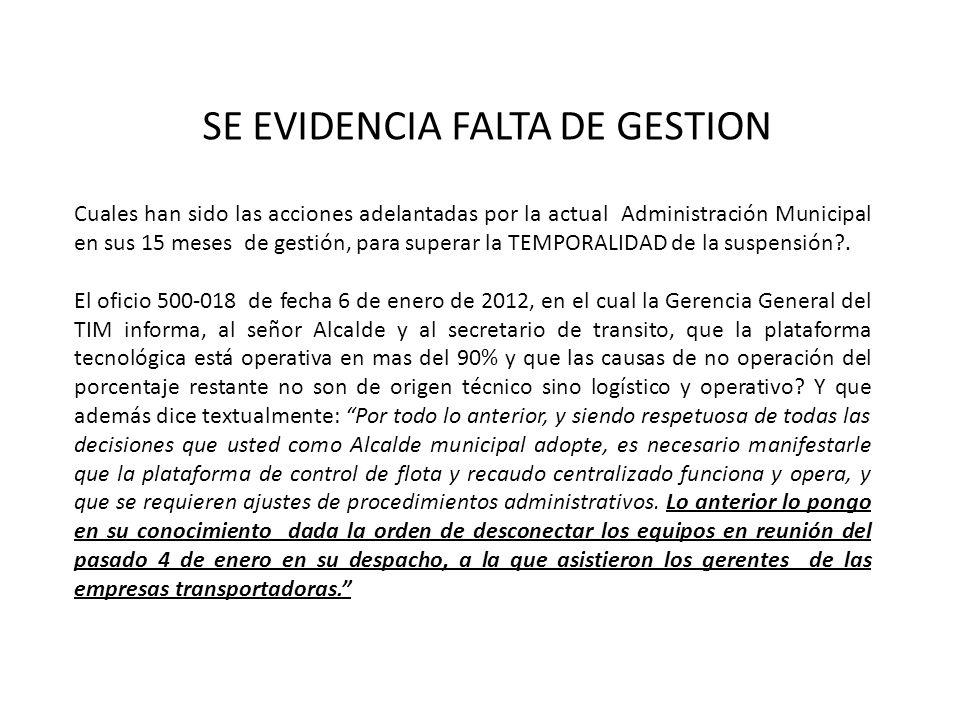 SE EVIDENCIA FALTA DE GESTION Cuales han sido las acciones adelantadas por la actual Administración Municipal en sus 15 meses de gestión, para superar la TEMPORALIDAD de la suspensión?.