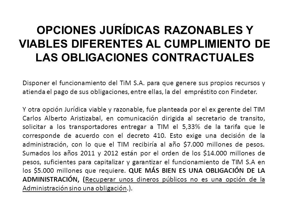 OPCIONES JURÍDICAS RAZONABLES Y VIABLES DIFERENTES AL CUMPLIMIENTO DE LAS OBLIGACIONES CONTRACTUALES Disponer el funcionamiento del TiM S.A.