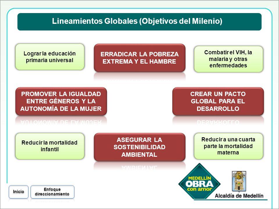 Lineamientos Globales (Objetivos del Milenio) Lograr la educación primaria universal Combatir el VIH, la malaria y otras enfermedades Reducir la morta