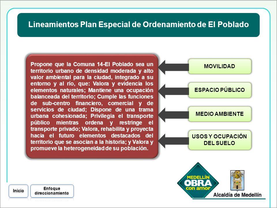 Lineamientos Plan Especial de Ordenamiento de El Poblado Propone que la Comuna 14-El Poblado sea un territorio urbano de densidad moderada y alto valo