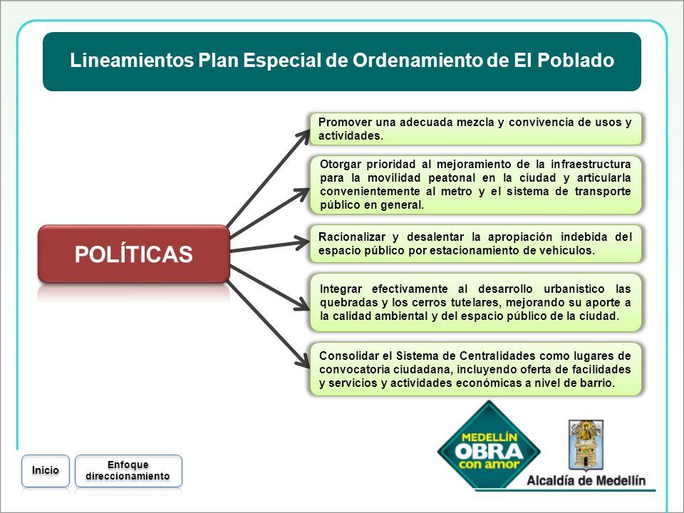 Lineamientos Plan Especial de Ordenamiento de El Poblado Promover una adecuada mezcla y convivencia de usos y actividades. Consolidar el Sistema de Ce