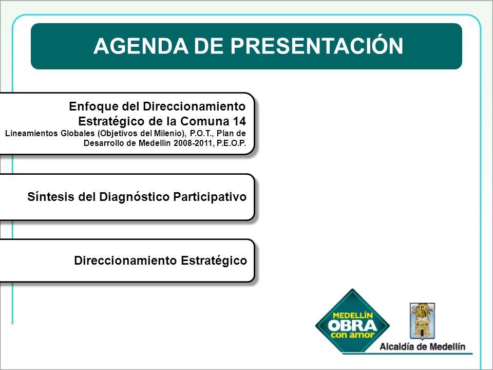 AGENDA DE PRESENTACIÓN Enfoque del Direccionamiento Estratégico de la Comuna 14 Lineamientos Globales (Objetivos del Milenio), P.O.T., Plan de Desarro