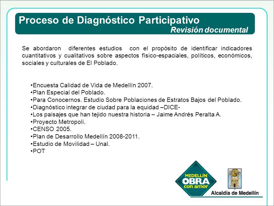 Proceso de Diagnóstico Participativo Revisión documental Se abordaron diferentes estudios con el propósito de identificar indicadores cuantitativos y