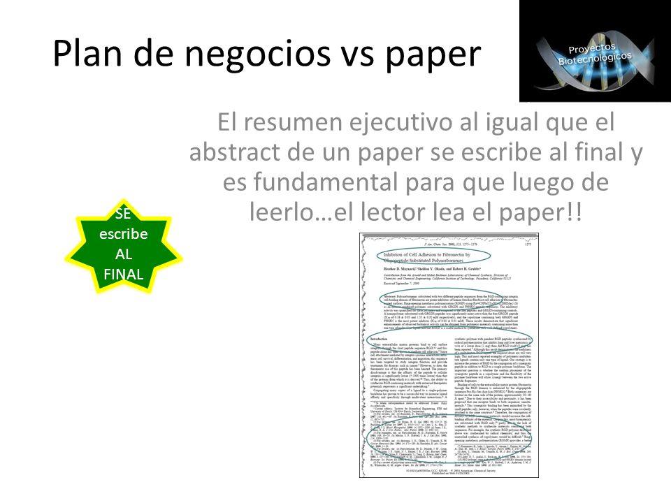 Plan de negocios vs paper El resumen ejecutivo al igual que el abstract de un paper se escribe al final y es fundamental para que luego de leerlo…el l