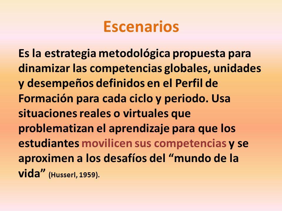 Escenarios Es la estrategia metodológica propuesta para dinamizar las competencias globales, unidades y desempeños definidos en el Perfil de Formación para cada ciclo y periodo.