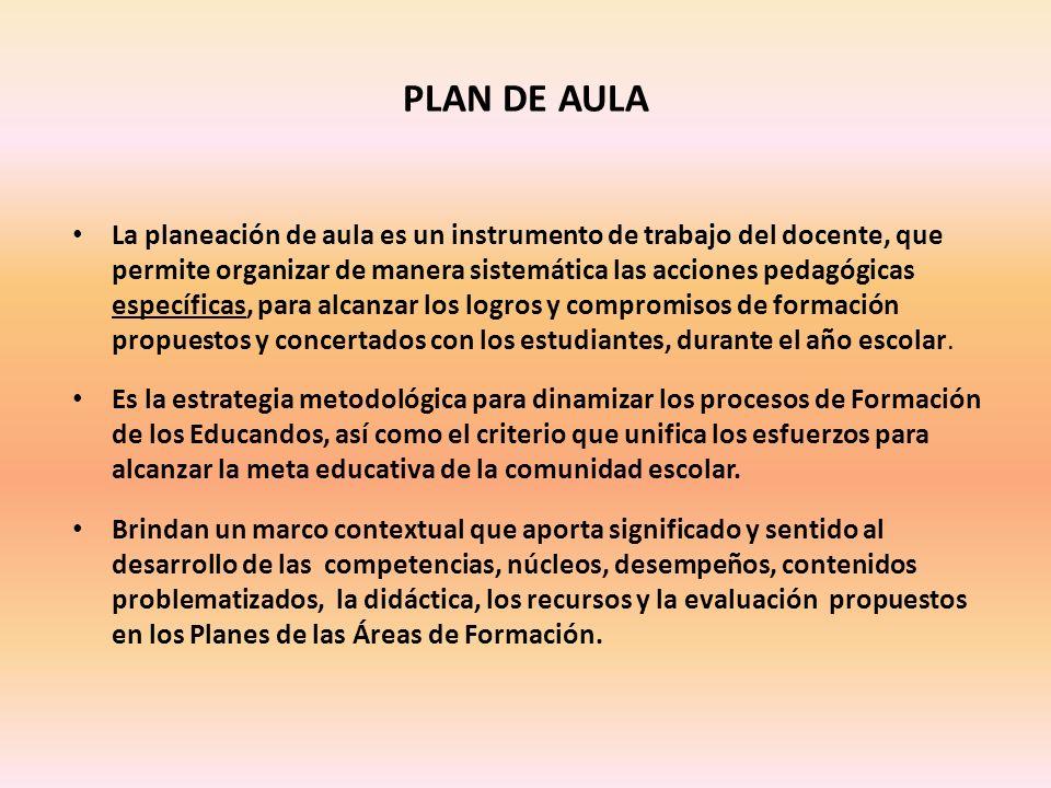 PLAN DE AULA La planeación de aula es un instrumento de trabajo del docente, que permite organizar de manera sistemática las acciones pedagógicas específicas, para alcanzar los logros y compromisos de formación propuestos y concertados con los estudiantes, durante el año escolar.