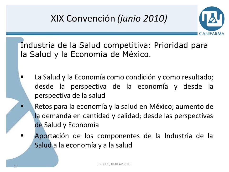 1er Censo del Sector Farmacéutico (noviembre 2010 – septiembre 2011) 18 CANIFARMA: Una Visión compartida EXPO QUIMILAB 2013