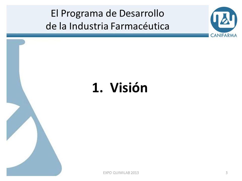 La VISIÓN está enfocada en lograr el desarrollo exponencial de la industria farmacéutica para posicionarla, en un lapso de seis años, como el sub-sector manufacturero mas importante de la economía mexicana.