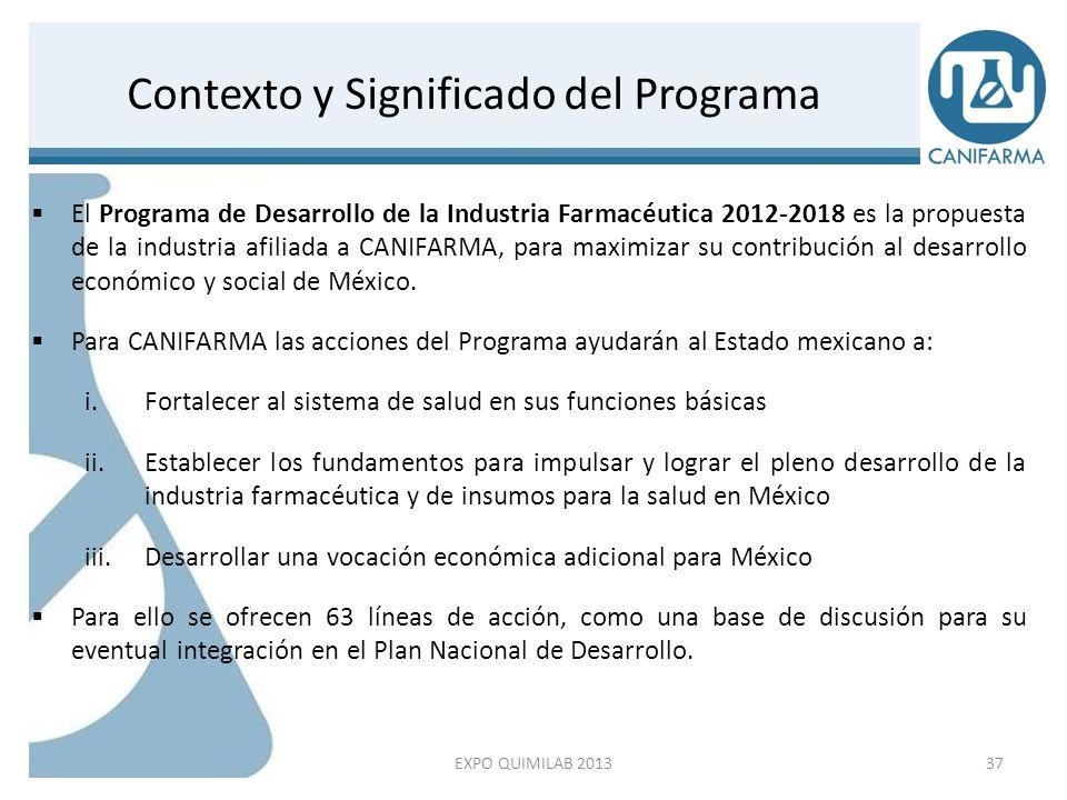 El Programa de Desarrollo de la Industria Farmacéutica 2012-2018 es la propuesta de la industria afiliada a CANIFARMA, para maximizar su contribución