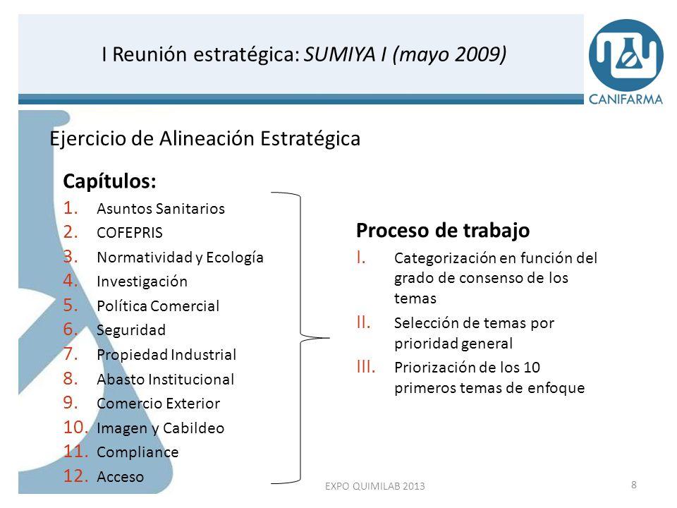 I Reunión estratégica: SUMIYA I (mayo 2009) Categorización de temas por intereses Temas de mutuo interés7988% Temas que requieren trabajo de consenso 910% Temas excluidos 22% Categorización de temas por prioridad Temas de Máxima prioridad2731% Temas de Prioridad alta3338% Temas de Prioridad normal2832% EXPO QUIMILAB 20139