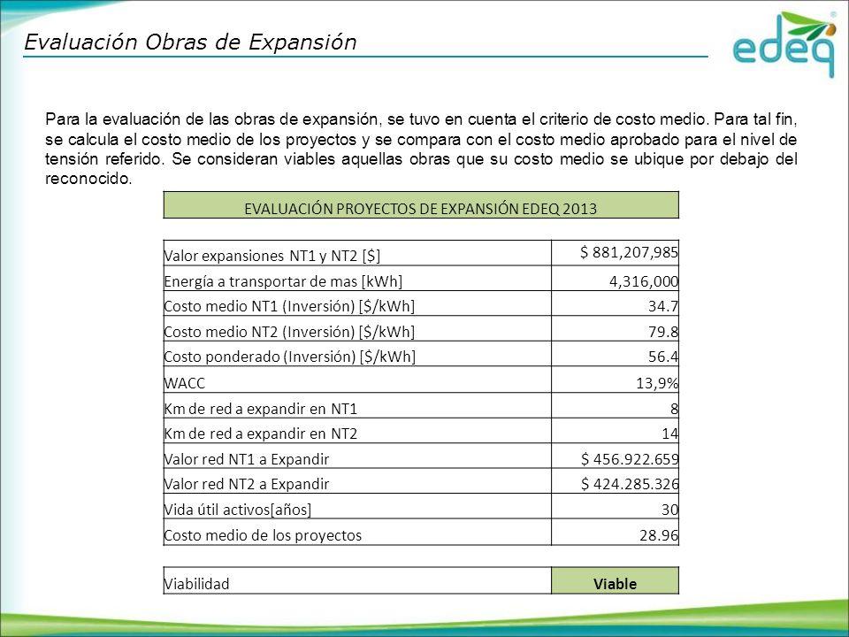 Evaluación Obras de Expansión Para la evaluación de las obras de expansión, se tuvo en cuenta el criterio de costo medio.