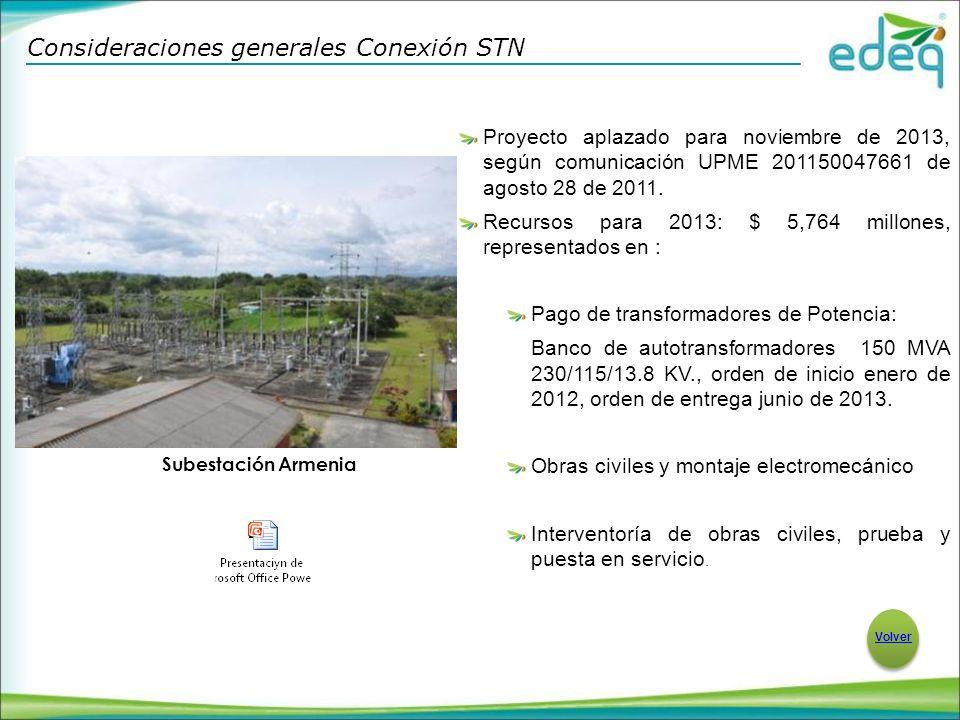 Proyecto aplazado para noviembre de 2013, según comunicación UPME 201150047661 de agosto 28 de 2011.