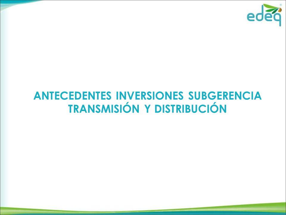 ANTECEDENTES INVERSIONES SUBGERENCIA TRANSMISIÓN Y DISTRIBUCIÓN