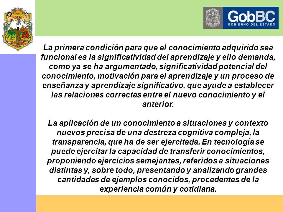 LA FUNCIONALIDAD DE LOS APRENDIZAJES Un buen aprendizaje es el que garantiza que, en lo sucesivo, el alumno podrá utilizar los conocimientos adquirido