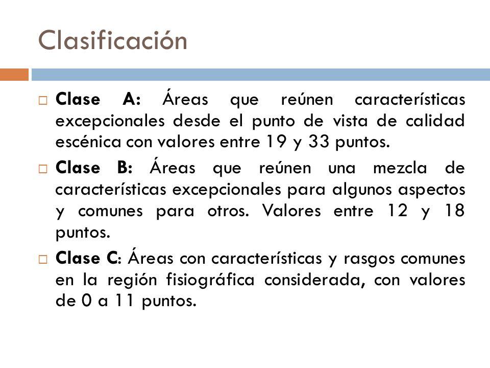 Clasificación Clase A: Áreas que reúnen características excepcionales desde el punto de vista de calidad escénica con valores entre 19 y 33 puntos.