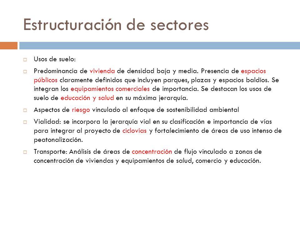 Estructuración de sectores Usos de suelo: Predominancia de vivienda de densidad baja y media.
