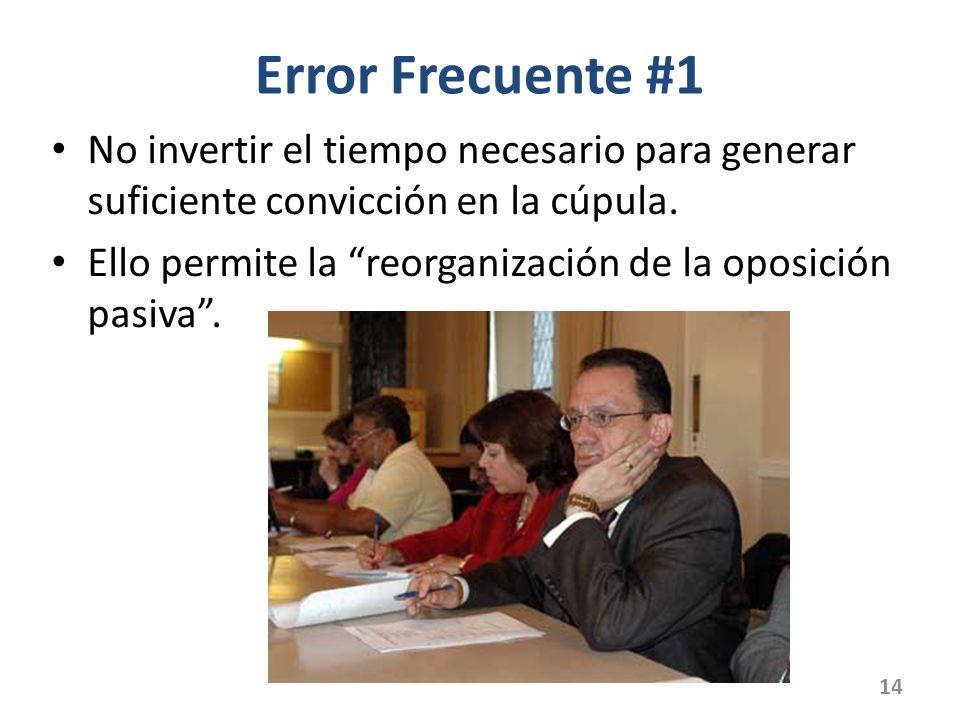 Error Frecuente #1 No invertir el tiempo necesario para generar suficiente convicción en la cúpula. Ello permite la reorganización de la oposición pas