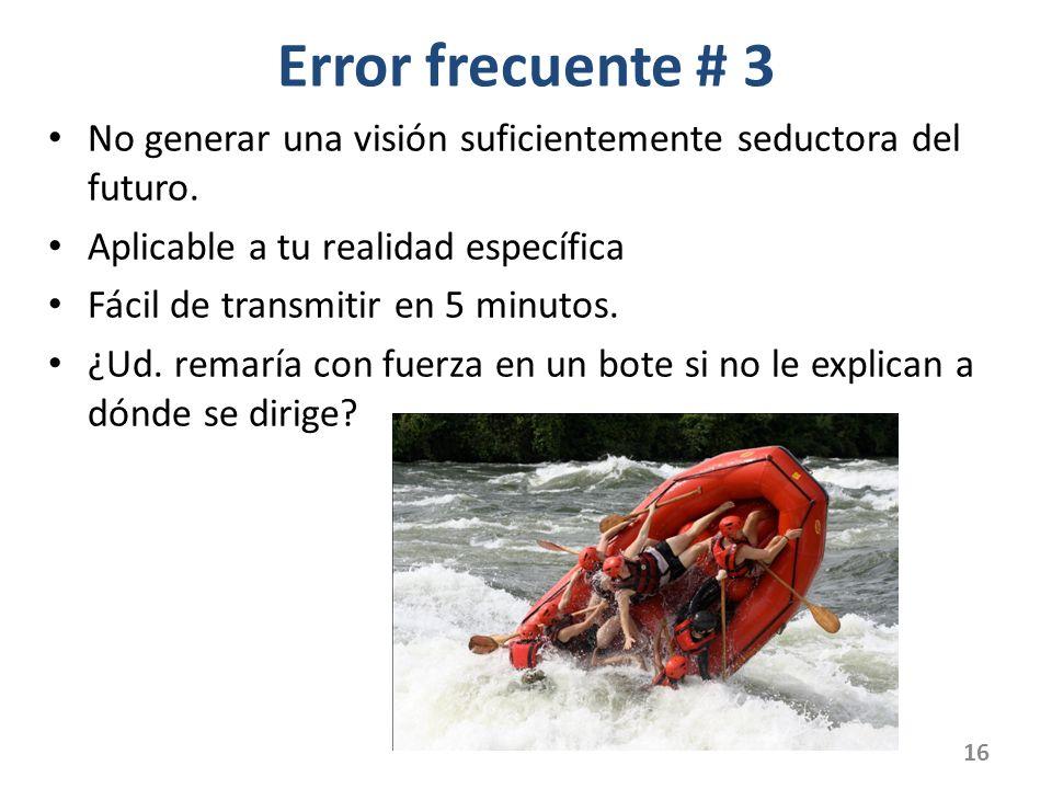 Error frecuente # 3 No generar una visión suficientemente seductora del futuro.