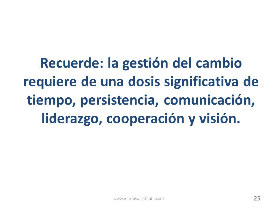 Recuerde: la gestión del cambio requiere de una dosis significativa de tiempo, persistencia, comunicación, liderazgo, cooperación y visión. 25 www.mar