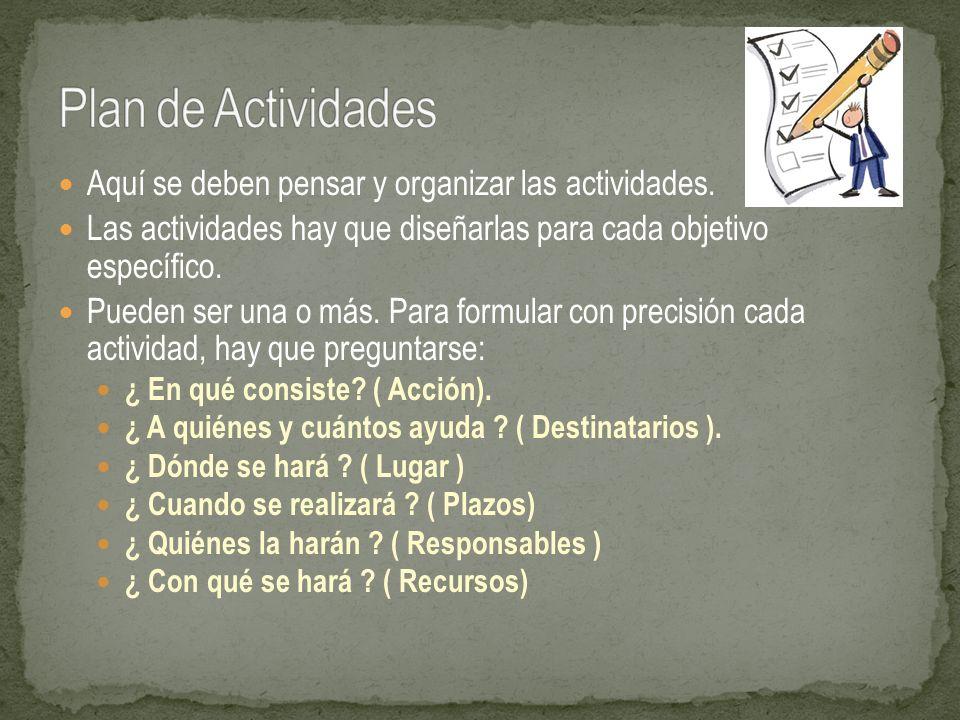 Aquí se deben pensar y organizar las actividades. Las actividades hay que diseñarlas para cada objetivo específico. Pueden ser una o más. Para formula