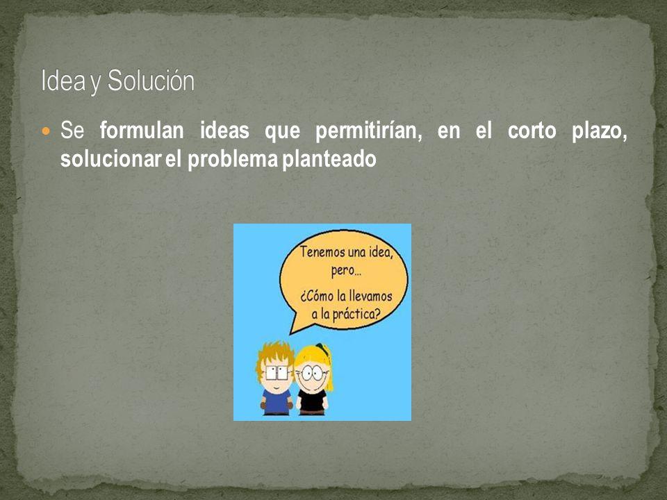 Se formulan ideas que permitirían, en el corto plazo, solucionar el problema planteado