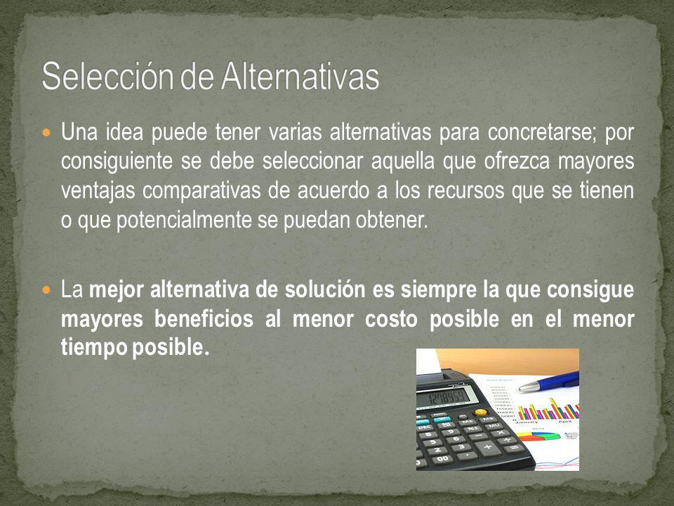Una idea puede tener varias alternativas para concretarse; por consiguiente se debe seleccionar aquella que ofrezca mayores ventajas comparativas de a