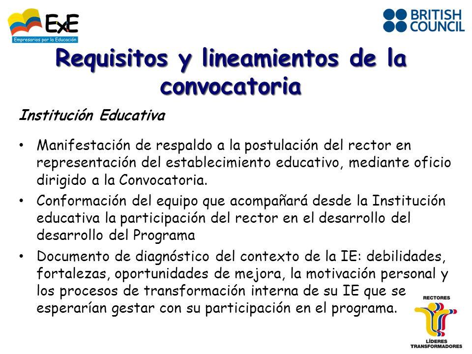 Institución Educativa Manifestación de respaldo a la postulación del rector en representación del establecimiento educativo, mediante oficio dirigido