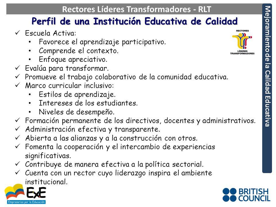 Perfil de una Institución Educativa de Calidad Escuela Activa: Favorece el aprendizaje participativo.