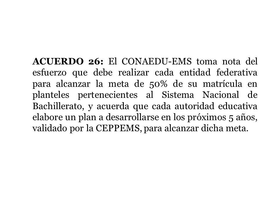 ACUERDO 26: El CONAEDU-EMS toma nota del esfuerzo que debe realizar cada entidad federativa para alcanzar la meta de 50% de su matrícula en planteles