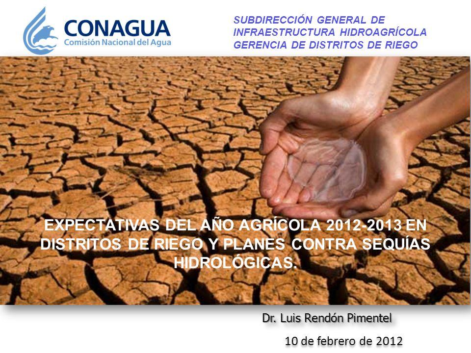 10 de febrero de 2012 Dr. Luis Rendón Pimentel SUBDIRECCIÓN GENERAL DE INFRAESTRUCTURA HIDROAGRÍCOLA GERENCIA DE DISTRITOS DE RIEGO EXPECTATIVAS DEL A