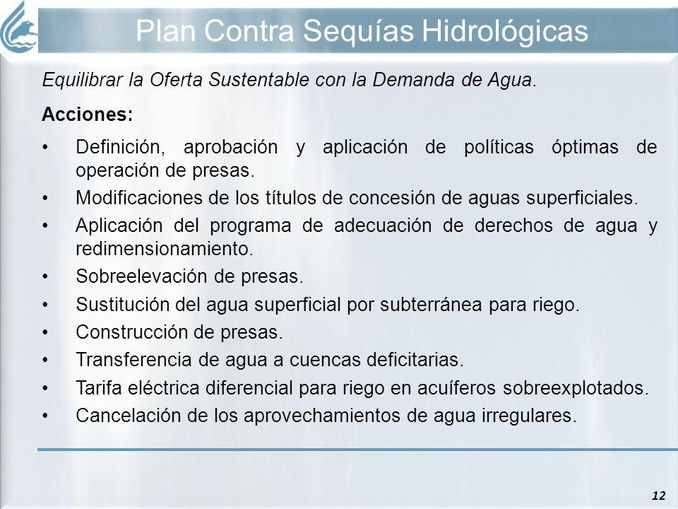 Plan Contra Sequías Hidrológicas 12 Equilibrar la Oferta Sustentable con la Demanda de Agua. Acciones: Definición, aprobación y aplicación de política